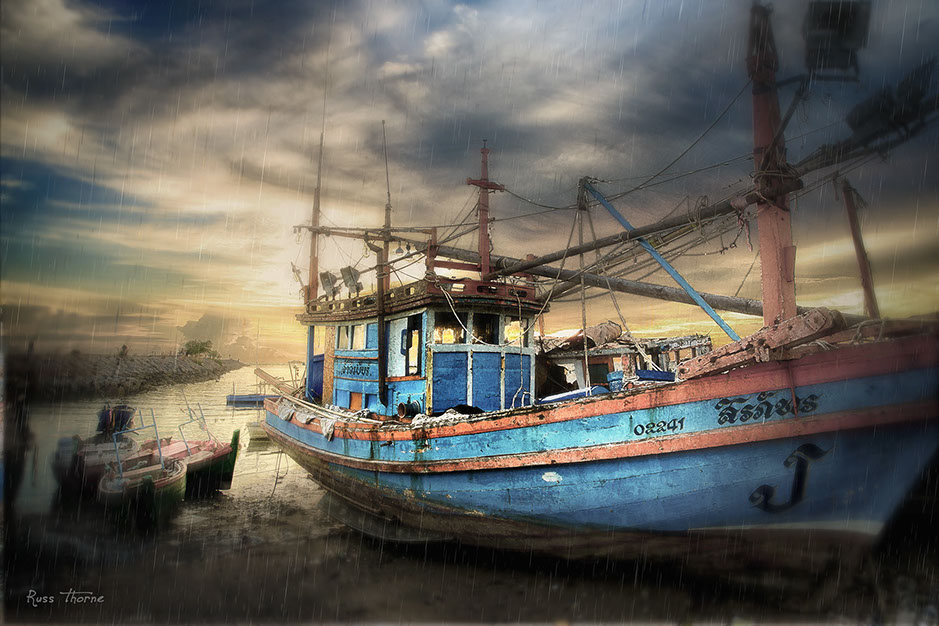 Thai fishing Boat near pattaya Beach, Thailand