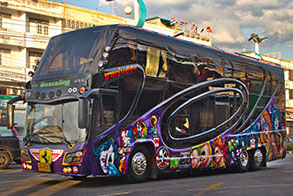 First class big tour bus in Thailand. Pattaya, Thailand. Photo by Russ Thorne.